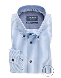 Ledûb Modern Stripe Button Down Licht Blauw