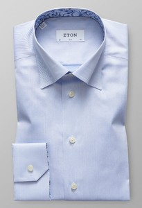 Eton Uni Twill Papyrus Detail Light Blue