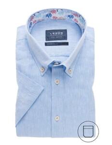 Ledûb Short Sleeve Uni Contrast Licht Blauw