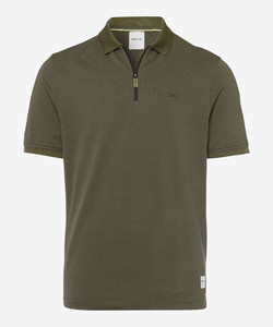 Brax Percy Zipper Polo Olive Green