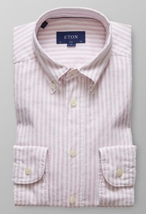 Eton Striped Slim Oxford Roze