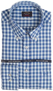 Paul & Shark Silver Collection Blue Check Blauw