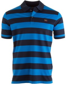 Paul & Shark Organic Cotton Double Mercerized Barstripe Polo Blauw-Kobalt