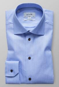 Eton Melange Twill Sleeve 7 Evening Blue