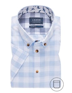 Ledûb Short Sleeve Contrast Button Check Licht Blauw