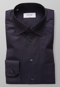 Eton Hidden Button Down Ultra Donker Paars