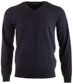 Alan Paine Rothwell Cotton-Cashmere V-Neck Dark Navy