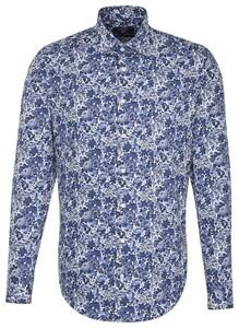 Seidensticker Kent Floral Fantasy Blauw