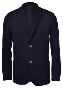 Gran Sasso Travel Wool Knit Jacket Extrafine Merino Blue Navy