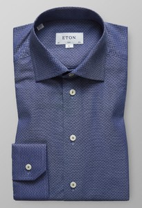Eton Twill Structured Detail Donker Blauw Melange