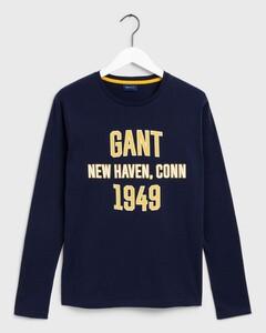 Gant Graphic Longsleeve T-Shirt Avond Blauw
