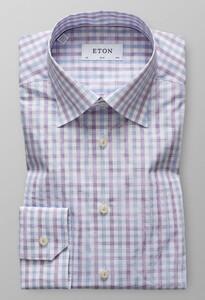 Eton Slim Button Under Check Sky Blue