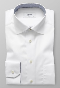 Eton Uni Poplin Micro Contrast Wit