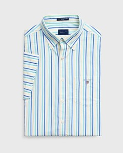 Gant The Broadcloth 3 Color Stripe Short Sleeve Pool Green
