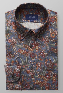 Eton Floral Flannel Button Down Dark Evening Blue