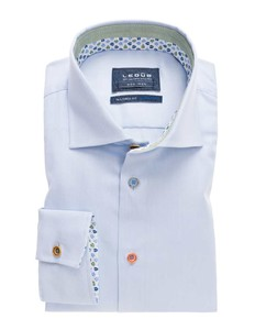 Ledûb Sleeve 7 Uni Contrast Button Licht Blauw