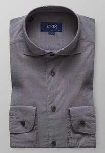 Eton Slim Fit Micro Uni Donker Grijs Melange