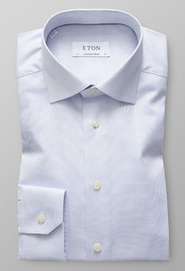 Eton Micro Weave Contrast Licht Blauw