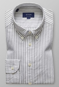 Eton Striped Royal Oxford Wit Melange