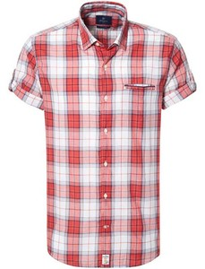 Pierre Cardin Multi Check Short Sleeve Wit-Rood