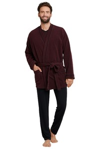 Schiesser City Life Bathrobe Short Dark Red
