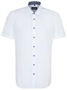 Seidensticker Poplin Uni Short Sleeve Contrast Wit