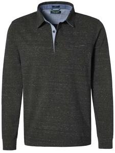 Pierre Cardin Longsleeve Polo Jersey Jacquard Olive Brown