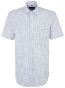 Seidensticker Duo Color Short Sleeve Check Blauw