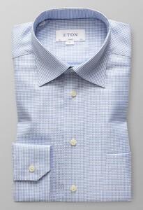 Eton Micro Weave Twill Diep Blauw