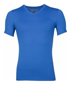 RJ Bodywear Pure Color V-hals T-Shirt Blauw