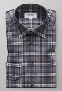 Eton Multi Checked Flannel Fine Twill Grijs