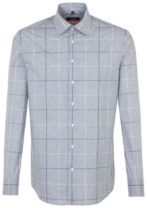 Seidensticker Check Business Kent Mid Grey