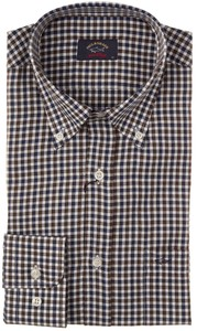 Paul & Shark Two-Tone Herringbone Twill Check Blue-Brown