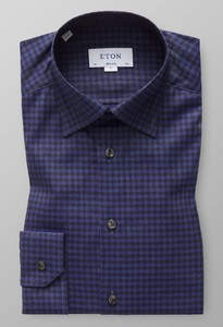 Eton Button Under Flannel Fine Twill Donker Blauw