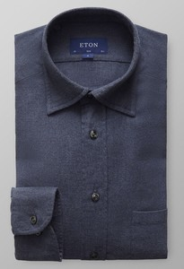 Eton Flannel Button Under Collar Donker Blauw Melange