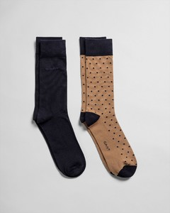 Gant 2Pack Dot And Solid Socks Warm Khaki