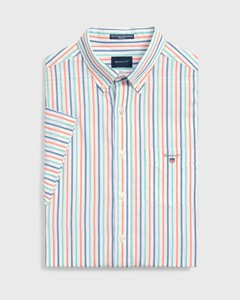 Gant The Broadcloth 3 Color Stripe Short Sleeve Coral Orange