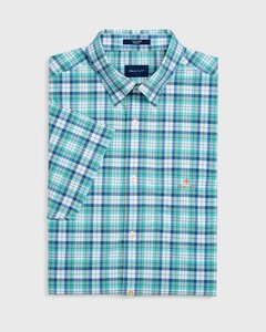 Gant Tech Broadcloth Check Short Sleeve Pool Green
