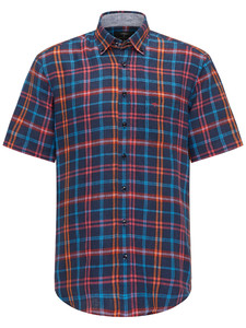 Fynch-Hatton Colourful Linen Check Short Sleeve Navy