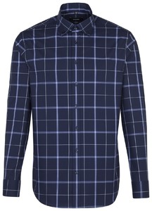Seidensticker Poplin Large Check Navy