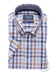 Ledûb Short Sleeve Check Donker Blauw
