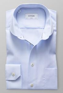 Eton Twill Uni Micro Weave Avond Blauw
