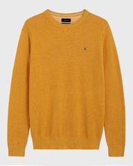Gant Piqué Sweater Ronde Hals Golden Yellow Melange