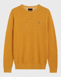 Gant Piqué Sweater Ronde Hals Golden Yellow Melange