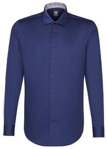 Jacques Britt Slim Collar Contrast Donker Blauw Melange