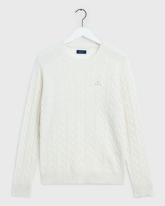 Gant Lambswool Cable Crew Crème
