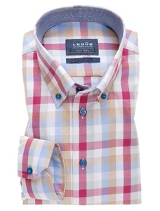 Ledûb Check Button Down Rood