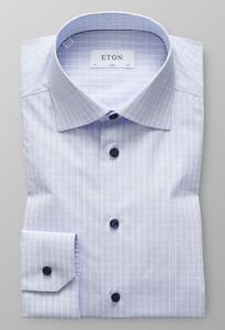 Eton Slim Poplin Weave Check Avond Blauw