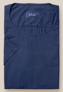 Eton Woven Twill Round Neck Donker Blauw Melange