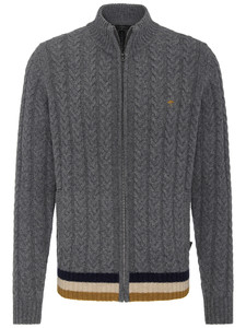 Fynch-Hatton Cardigan Zip Cable Structure Ashgrey
